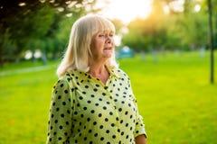 Sad senior woman. Stock Photo