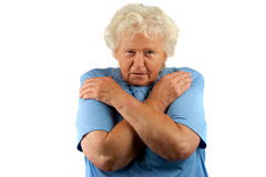 Sad senior woman whit her arms crossed Royalty Free Stock Photography
