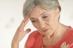 Sad senior woman Stock Photos