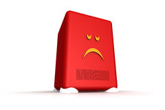 Sad server. Server-like object showing a sad face Stock Photos