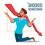 Sad Shocked Businessman Vector. Losing Money. Graph Going Down. Male Standing On His Knees. Isolated Flat Cartoon. Unhappy Nervous Businessman Vector. Screaming Stock Images