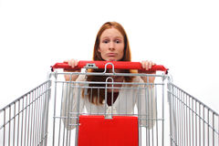 Sad Shopping Girl Royalty Free Stock Photos