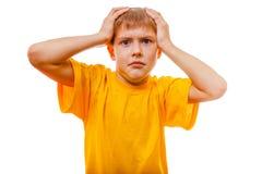 Sad sick baby boy headache, feels depressed Stock Photos