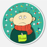Sad sick person. In a warm scarf. rain from tablets. The round figure on bright background Royalty Free Stock Photos