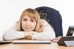 Sad sight tired office worker Royalty Free Stock Photos