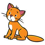 Sad sitting cat. Children vector illustration of sitting little red cat or kitten Royalty Free Stock Photography