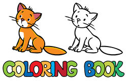 Sad sitting cat. Coloring book Royalty Free Stock Images