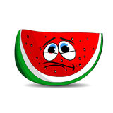 Sad slice of watermelon, cartoon on white background. Stock Images