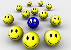 Sad smiley. A group of yellow smiley balls with one sad blue smiley vector illustration