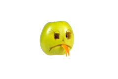 Sad smiley evil out of the apple. Feelings, attitudes  Stock Photo