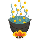 Sad smiley fall into a hellish cauldron. Vector image of a fantasy story about the sinners boiling in tar Royalty Free Stock Photos
