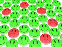 SAD Smiley i mitt av lyckan arkivbild