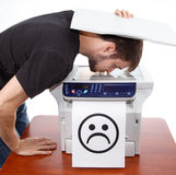 Sad smiley on scan of man face. On isolated background Stock Photos