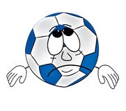 Sad soccer ball cartoon Royalty Free Stock Images