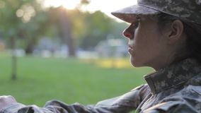 Sad soldier thinking. A sad soldier thinking 1080p stock footage