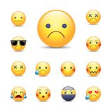 Sad, sorry cartoon vector emoji face set. Unhappy, crying, angry, depresserd smileys. Ninja, in sunglasses and over emoticons vector illustration