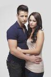 SAD standing för par tillsammans Royaltyfria Bilder
