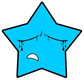 Sad star cartoon in blue  Royalty Free Stock Photos