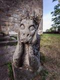 Sad Stone Gargoyle in Franconia, Germany Stock Photos