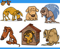 Sad stray dogs cartoon illustration set. Cartoon Illustration of Poor Sad Homeless Stray Dogs Set Royalty Free Stock Image