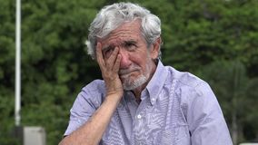 Sad stressed senior elderly hispanic man. A hispanic senior adult male stock video