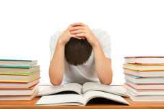 Sad Student with a Books Royalty Free Stock Photos