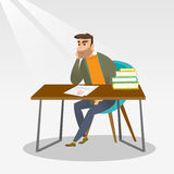 Sad student looking at test paper with bad mark. Royalty Free Stock Photos