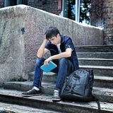 Sad Student outdoor Stock Images