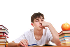 Sad Student. At the School Desk Isolated on the White Background Royalty Free Stock Photo