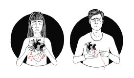 Sad and suffering man and woman loss of love. broken heart concept. hand drawn illustration Royalty Free Stock Images