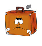 Sad suitcase cartoon Royalty Free Stock Photos