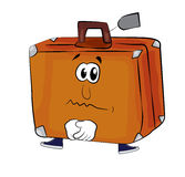 Sad suitcase cartoon Stock Photography