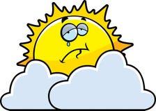 Sad Sun. A cartoon sun sad and surrounded by clouds