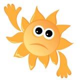 Sad sun. Cartoon sun in a sad mood. Vector illustration Stock Photos