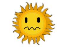 Sad Sun Cartoon Characte Royalty Free Stock Photography