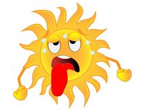 Sad sun is exhausted from a heat. Vector illustration royalty free illustration