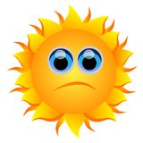 Sad sun. Vector illustration of sad sun isolated vector illustration