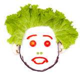 Sad surprised human head made of vegetables Royalty Free Stock Photography