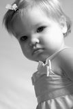 Sad Sweet Little Girl, black and white Stock Photo