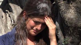 Sad Tearful Woman Sobbing. A young and pretty hispanic woman stock video