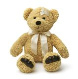 Sad teddy bear injured Royalty Free Stock Photos
