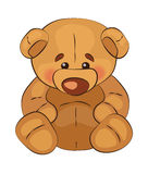Sad teddy bear sits on a white background, vector Stock Images