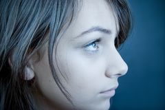 SAD teen för profil Royaltyfri Foto