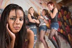 Sad Teen Female Near Group Stock Photos