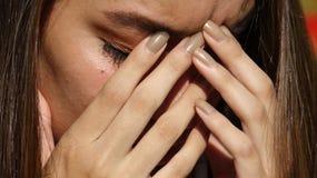 Sad Teen Girl Crying Stock Images