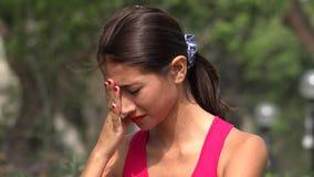 Sad Teen Girl Crying. A young female hispanic teen stock footage