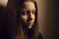 Sad teen girl Stock Images