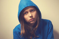 Sad teen girl. In hood Royalty Free Stock Photography