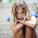 Sad teen girl outdoors Royalty Free Stock Images