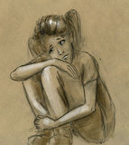 Sad teen girl. Thinking of something alone. Hand drawn rough pencil sketch Royalty Free Stock Images